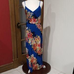 London Times floral print blue maxi dress NWOT